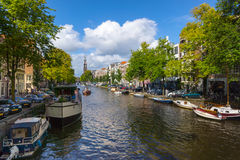 Panorama of canal in old town in Amsterdam Stock Photo