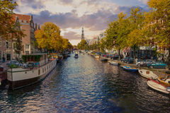 Panorama of canal in old town in Amsterdam Royalty Free Stock Photos