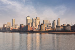 Panorama from Canary Wharf district an river Thames Stock Photo