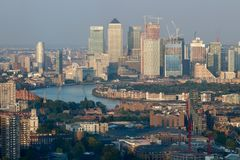 Panorama of Canary Wharf in London  - river Thames Stock Images