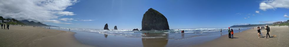 Panorama Cannon Beach in Oregon Stock Images