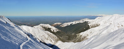 Panorama of The Canterbury Plains from the Mount Hutt Ski Field, Stock Photo