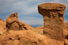 Panorama of the canyon fairytale or skazka . Panorama of the canyon fairytale or skazka , Issyk-Kul , Kyrgyzstan Royalty Free Stock Images
