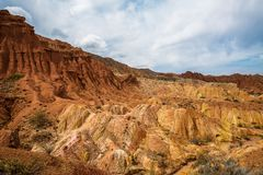 Panorama of the canyon fairytale or skazka . Panorama of the canyon fairytale or skazka , Issyk-Kul , Kyrgyzstan Stock Image