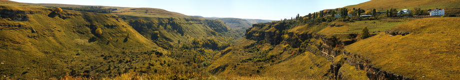 Panorama of a canyon in the North Caucasus Stock Image