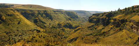 Panorama of a canyon in the North Caucasus Royalty Free Stock Image