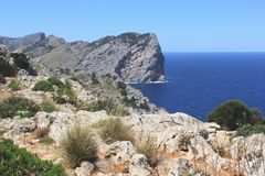 Panorama of Cape Formentor at Majorca, Spain Royalty Free Stock Photo