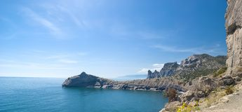 Panorama of cape Kapchik - Eatern Crimea Stock Image