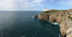 Panorama of Cape St . Vincent Lighthouse in Portugal Royalty Free Stock Images