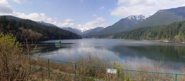 Panorama of Capilano Lake Royalty Free Stock Photos