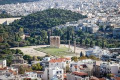 Panorama of the capital of Greece, Athens. stock photo