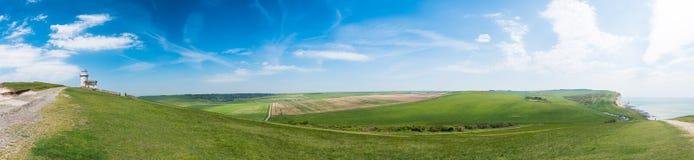 Panorama capo sassoso del faro fotografia stock