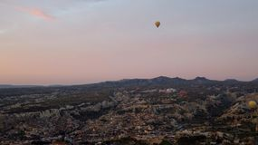 Panorama of Hot Air Balloons Inflating in Cappadocia. Panorama of Cappadocia with hot air balloons inflating at sunrise Stock Images