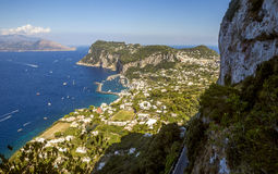 Panorama of Capri Island from Anacapri town, Italy Royalty Free Stock Photo