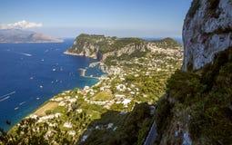 Panorama of Capri Island from Anacapri town, Italy. Panorama of Capri Island from Anacapri town in Italy Royalty Free Stock Photo