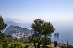 Panorama of Capri island from Monte Solaro, in Anacapri Stock Photo