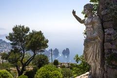 Panorama of Capri island from Monte Solaro, in Anacapri. June 10, 2015, in Anacapri, Capri, Italy Stock Image