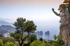 Panorama of Capri island from Monte Solaro, in Anacapri Royalty Free Stock Photos