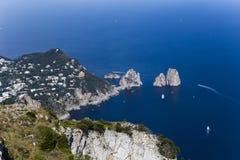 Panorama of Capri island from Monte Solaro, in Anacapri Royalty Free Stock Photography