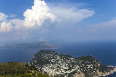 Panorama of Capri island from Monte Solaro, in Anacapri Stock Image