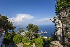 Panorama Capri wyspa od Monte Solaro w Anacapri, Zdjęcie Stock
