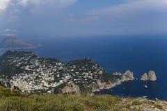 Panorama Capri wyspa od Monte Solaro w Anacapri, Obraz Stock