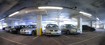 Panorama of car`s parking Stock Photo