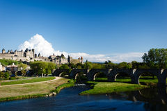 Panorama of Carcassonne fortifications Royalty Free Stock Image