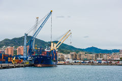 Panorama of cargo Genoa Port Royalty Free Stock Photo
