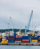 Panorama of cargo Genoa Port Royalty Free Stock Image