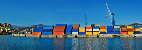 Panorama of cargo terminal with color containers in Genoa Stock Image