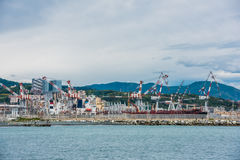 Panorama of cargo terminal Genoa Por Royalty Free Stock Photo