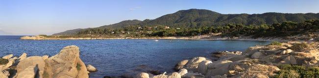 Panorama of Caridi beach in Vourvourou. Stock Photos