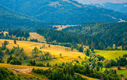 Panorama Carpathian mountain landscape with blue cloudy sky in summer Royalty Free Stock Photography