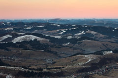 Panorama of Carpathian mountains hills Royalty Free Stock Photo