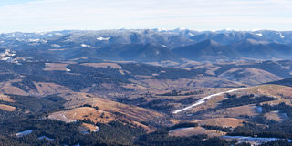 Panorama of Carpathian mountains hills Royalty Free Stock Image