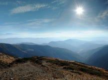 Panorama Carpathian mountains ranges Stock Photography