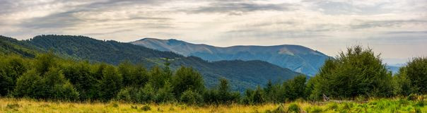 Panorama of Carpathian mountains in summer. Beautiful landscape with forested hills and Apetska mountain in the distance Stock Photography