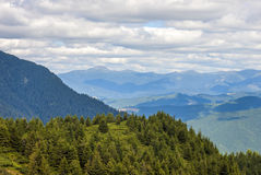 Panorama of Carpathian mountains in summer sunny day Stock Image