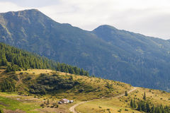 Panorama of Carpathian mountains in summer sunny day Royalty Free Stock Image