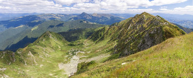 Panorama of Carpathian mountains in summer sunny day Royalty Free Stock Photos
