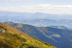 Panorama of Carpathian mountains in summer sunny day. Stock Images