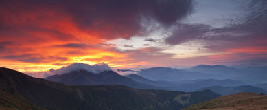 Panorama of the Carpathian Mountains Royalty Free Stock Photo