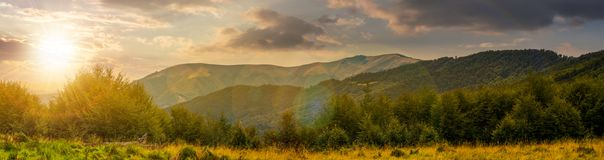 Panorama of Carpathian mountains at sunset. Beautiful landscape with forested hills and Apetska mountain in the distance Royalty Free Stock Photography