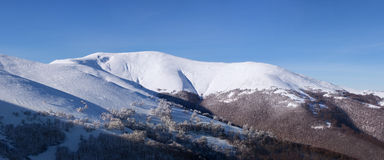 Panorama of Carpathian mountains winter landscape Royalty Free Stock Images