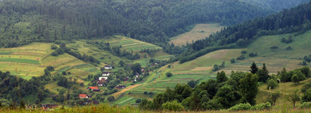 Panorama Carpathians villages Stock Images