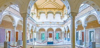 Panorama of Carthage Room in Bardo Museum. TUNIS, TUNISIA - SEPTEMBER 2, 2015: Panorama from arcade of the Carthage Room of Bardo National Museum, decorated with Stock Photos