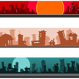Panorama of the cartoon city, set. Panorama of the cartoon city red, brown, blue, set Stock Images
