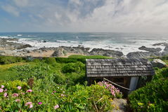 Panorama from Casa de Isla Negra house museum of Pablo Neruda. Isla Negra. Chile. Casa de Isla Negra was one of Pablo Neruda`s three houses in Chile. It is stock image
