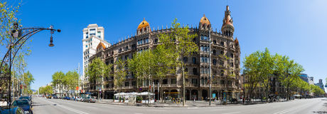 Panorama of Cases Pons, Barcelona. BARCELONA, SPAIN - APRIL 14: Panorama of Cases Pons in April 14, 2013 in Barcelona, Spain. Was built in 1890-1891 by Catalan Royalty Free Stock Photography